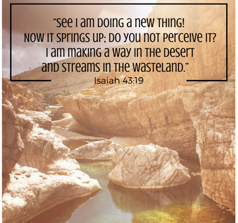 """See I am doing a new thing! Now it springs up; do you not perceive it- I am making a way in the desert and streams in the wasteland."" Isaiah 43-19 (2)"